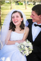 Stephen and I laughing on our wedding day